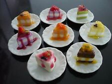 Set of 8 Mix Crepe Cake Top Fruit and Sauce on Plate Dollhouse Miniature Bakery1