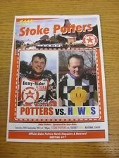 10/09/2011 Speedway Programme: Stoke Potters v Hackney Hawks (results noted). Th