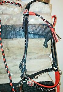 Bitless Baroque sidepull Bridle. Red and black. Pony-XF sizes FREE POST