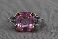 Ring Sterling Silver Ring Fine Jewelry 5.12 Ct Fancy Pink Solitaire Studded