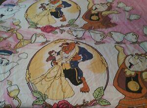 VTG Disney BEAUTY & The BEAST TWIN FLAT SHEET Belle Beast Lumiere Cogsworth Chip