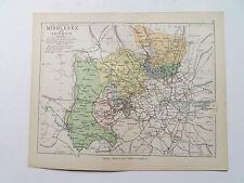 Middlesex mappa con Le Ferrovie-PHILIPS-ANTIQUARIATO data 1890 - 7inx 9 in (ca. 22.86 cm)