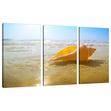 3 Part Beach Sunset Canvas Pictures Bathroom Bedroom Wall Art Set 3148
