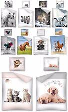 2 tlg. Jugend Bettwäsche 135x200 Pferde Wolf Eule Pinguine Hunde 100% baumwolle