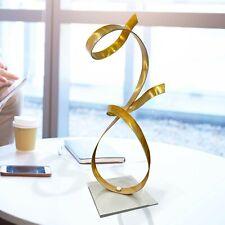 Abstract Gold Metal Sculpture Modern Art Centerpiece Table Desk Decor Jon Allen