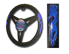 Blue Steering Wheel Cover Sports Cars Universal Fit 14.5''-15.5'' ft.Blue Woman
