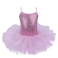 UK Girls Sequined Ballet Leotard Dress Mesh Tutu Skirt Gymnastics Party Costume