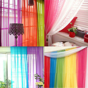 Home Floral Tulle Voile Door Window Curtain Drape Panel Sheer Scarf Valances HSL