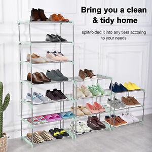 3-8 Tier Metal Shoe Rack Storage Cabinet Organizer Stand Shelf Holder Space Save
