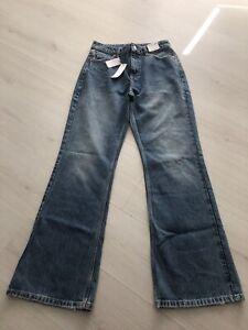 BNWT Topshop Two Mid Blue 90s Rigid Flare Jeans - W30 L32 - 12