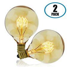 Vintage Edison Bulb, G50 Globe, 40w, Candelabra E12 Base, 2-Pack