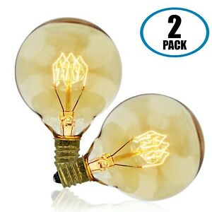 Vintage Retro Edison Bulb, G50 Globe, 40w, Candelabra E12 Base, 2-Pack