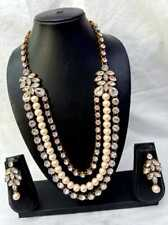 Indian Designer Bollywood Gold Plated Kundan Long Party Wear Necklace Set