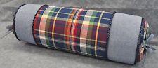 Corded Pillow made w Ralph Lauren Garrison Madras Plaid & Blue Chambray Fabric