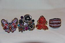 betsy Johnsonn4 stretchable  rhinestone rings  butterfly  fish flowers