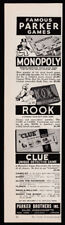 Parker Brothers games print ad 1951 Monopoly Rook Clue & others