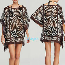 Carmen Marc Valvo Swimsuit CoverUp Tunic Dress Caftan Sahara Animal NWT M/L $133
