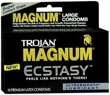 TROJAN MAGNUM Ecstasy Condoms Ultrasmooth Lubricant Large Size 10 Each (6 pack)
