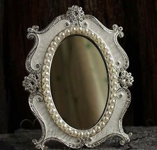 Gorgeous Baroque Decorative Art Deco Vanity Stand Mirror pearl white