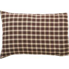 RORY Standard Pillow Case Set Brown/Creme Windowpane Plaid Farmhouse Cabin Lodge