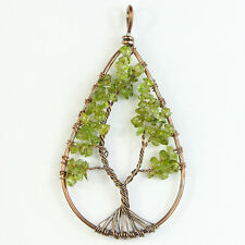 Natural Peridot Tree of Life Reiki Chakra Chips Beads Copper Teardrop Pendant