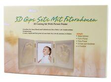 BRUBAKER 3D Gips Set Handabdruck, Fußabdruck + Baby Foto mit Rahmen 42x19cm Weiß