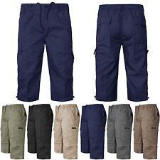 MENS  CARGO COMBAT SHORTS / 3/4 SHORTS / TROUSERS ELASTICATED WAIST COTTON PANTS