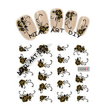 20 Nail Art Stickers water transfer-Tattoo Adesivi FIORI neri-decorazioni d'Oro!