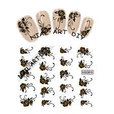 20 Nail Art Stickers water transfer-Tattoo Adesivi FIORI neri-decorazioni d'Oro!