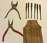 Lot of 3 Vintage Tools: Red Devil/Eclipse Glass Cutting Kit Snap Ring/Reg Pliers