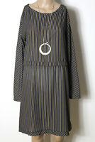 Kleid Gr. 38-40 braun-blau-gelb gestreift knielang Chiffon Kleid aus Italien