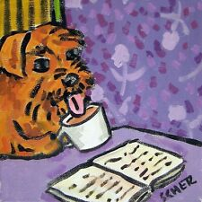 irish terrier at the coffee shop picture animal dog art ceramic Tile abstract fo