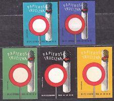 POLAND 1966 Matchbox Label - Cat.Z#653I/V set, Cigarette - poison.