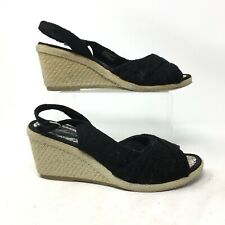 Skechers Espadrille Slingback Wedge Heels Sandals Lace Peep Toe Black Womens 8