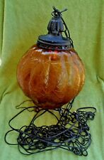 Vintage Amber Crackle Glass Hanging Swag Globe Lamp Light w/ Chain & Pull Cord