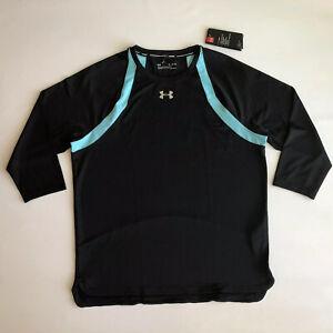 NWT Under Armour HeatGear Hexdelta 3/4 Sleeve Shirt Black Sz XL 1317493 002