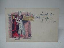1908 Christmas Postcard - Man Hanging Stockings At Fireplace