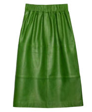 """Pretty GORMAN """"Green Gathering"""" Green Leather skirt *  Size 6 (also fits 8)"""