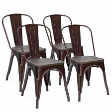 Set of 4 Tolix Style Metal Dining Side Chair Wood Seat Stackable Bistro Cafe