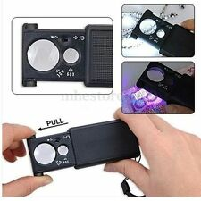 30X/60X Double Lenses Jewelry Magnifier with LED UV Lights Pull Type Glass Loupe