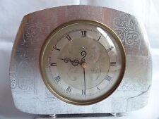 Vintage WOODEN SMITHS TEMPORA SILVER MANTLE WIND UP MECHANICAL CLOCK ANTIQUE