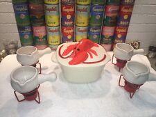HTF Vintage Atlantic Mold Lobster Casserole & 4 Butter Warmers w/ metal stands
