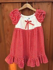 Girls Size 5 Handmade Red White Minky Dress Holiday Christmas or for fun! Soft!