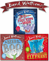 David Walliams 3 Picture Books Collection Set First Hippo on the Moon, Elephant