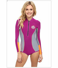 Rip Curl G Bomb 1MM L/S Spring Suit High Cut Women's Wetsuit,Size 10,(120-140lb)