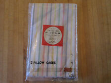 Vintage Japan import 2 pillow cases,striped pastels NIP 100%cotton,look nice