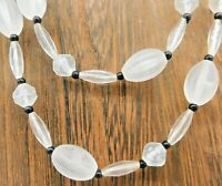 Vintage Hong Kong Necklace Translucent Clear Black Oval Round Bead Multi Strand