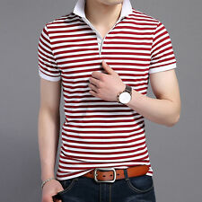 Men Polos Red Striped Short Sleeve Polo Shirt Slim Fit Tee Tops Men's Clothing