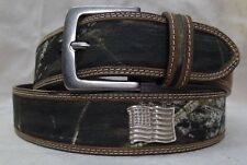 """MOSSY OAK CAMO LEATHER  & CANVAS BELT  - WITH """"AMERICAN FLAG """" CONCHOS  30"""""""