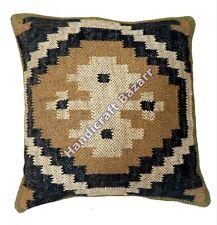 "Indian Handmade Pillow Cover Decorative Jute Kilim Design Cushion Case 18"" Outdo"